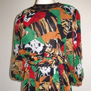80s Diane Freis NOS Beaded Dress & Scarf Animal OS